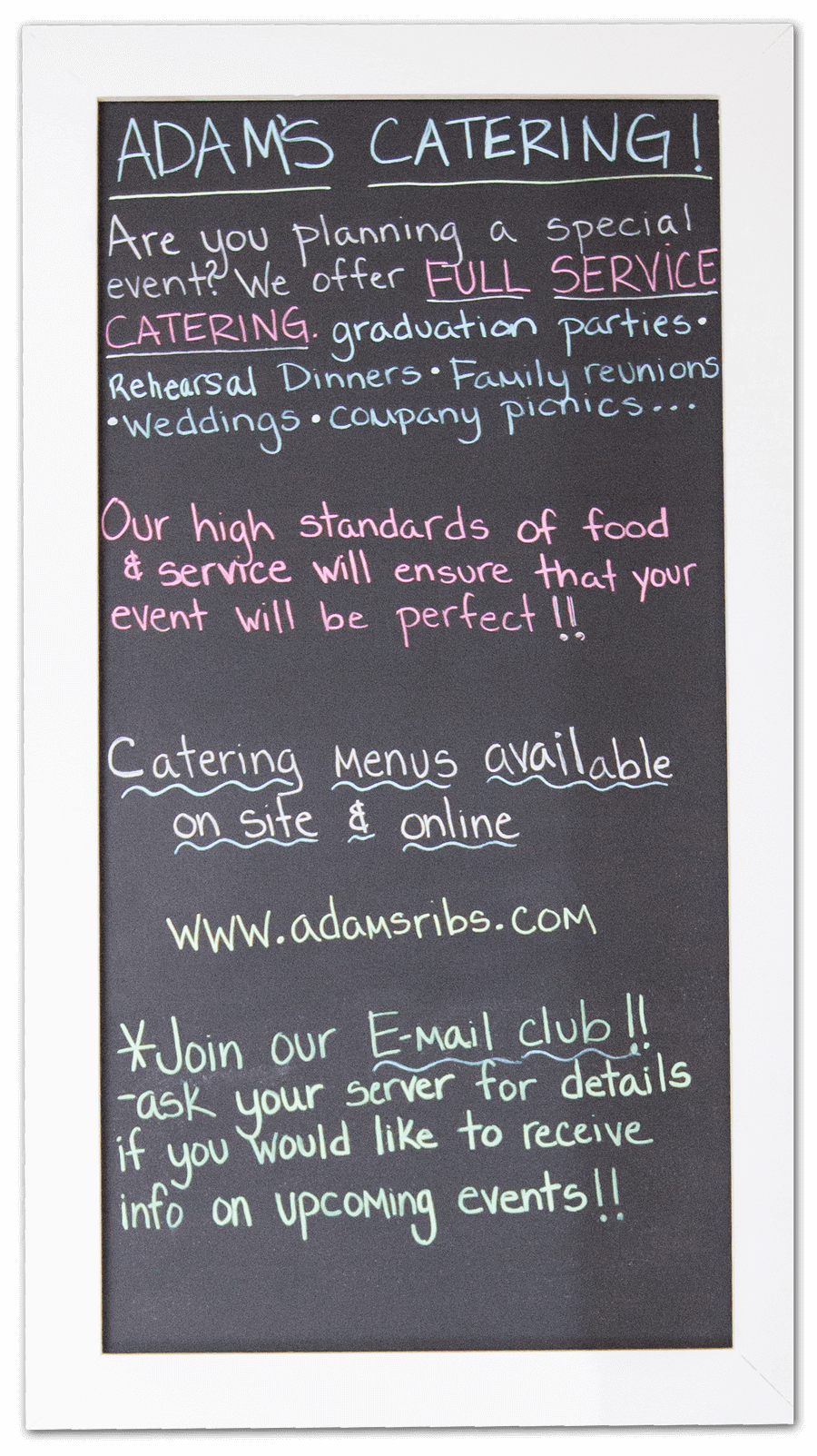 Adams Taphouse and Grille Prince Frederick Catering boards
