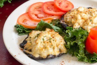 Adam's Crab stuffed portobello with tomatoes